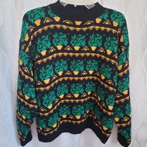 Knit Knit Abstract Geometric Mock Neck Sweater